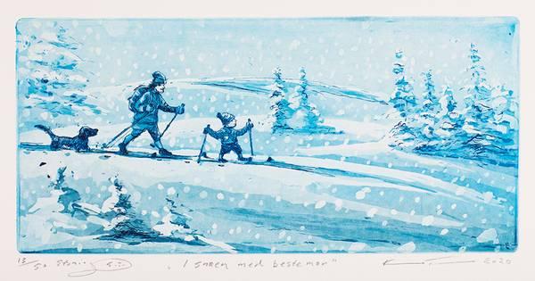 Bilde av Kristian Finborud - I snøen med bestemor